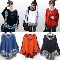 Fashion Women Batwing Cape Tassels Fringe Knit Tops Poncho Shawl Sweater Outwear