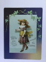 Antique Victorian Christmas Card Fashionable Young Lady Embossed Lithograph