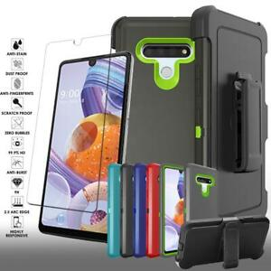 For LG Stylo 6 Dual layer Shockproof Armor Case Belt Clip Fits Otterbox Holster