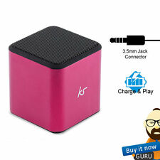 KITSOUND KSCUBEPI CUBE PORTABLE MINI WIRED RECHARGABLE SPEAKER - PINK