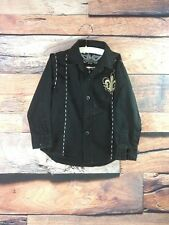 Chams Premium Quality Boys Sz 3T ButtonUp Shirt Black Embellished Flour de Lis