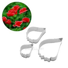 3X Poppy Flower Petals Stainless Steel Cake Cookie Cutters Decorating Mold Tool