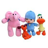NEW Bandai Set Of 4 Pocoyo Elly Pato Loula Soft Plush Stuffed Figure Toy Doll