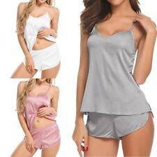 Women Sexy Lingerie Cami Shorts Set Solid Satin Babydoll Sleepwear Pajama Pants