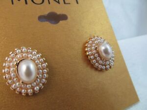 NWT MONET GOLD & PEARL OVAL CLUSTER EARRINGS, Shimmery, Stunning, Wedding