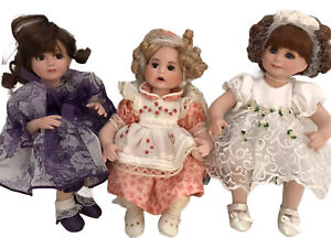 Marie Osmond Dolls Rose Bud Trio with Bench & Certificates Tiny Tots 5""