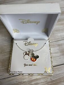 NEW! Disney Necklace Fine Silver Plated You and Me Pendant Minnie Mickey Mouse