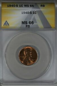 1940-S  .01  ANACS  MS 66 RB  Lincoln Head Cent, Lincoln One Cent