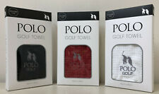 POLO Golf Towel 50cm x 40cm with Carabiner Clip available in black, red or white