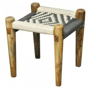Indian Inspired Tribal Solid Wood Charpai Khat Manjhi Woven Ottoman Stool