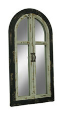 Zeckos Vintage Finish Wood Arched Window Frame Wall Mirror with Doors