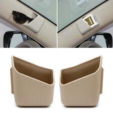 2x Beige Car Interior Pen Card Phone Organizer Storage Box Tidy Holder Adhesive