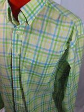 L.L. Bean Green Yellow Plaid Button Down Shirt Men's Large Cotton Stain Resist