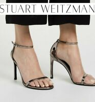 Stuart Weitzman Nudistsong 100mm Ankle Strap Heel Pewter Glass Sandal US 9.5