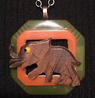 Ooak Elephant Wood & Bakelite Necklace