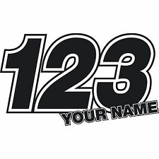 3 x Custom Race Numbers Name Stickers Vinyl Dirt Bike Motocross Trials Decals
