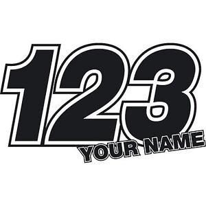3 x Custom Race Numbers Stickers Name Vinyl Dirt Bike Motocross Trials Decals