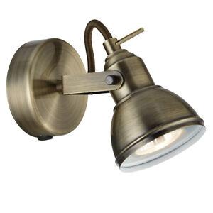 Searchlight Industrial 1 Light Antique Brass Finish Halogen Spotlight Wall Light