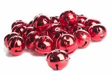 Package of 24 Shiny Red 50mm Christmas Jingle Bells with Star Cutouts