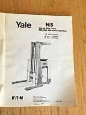 YALE Model NS Narrow Aisle Straddle Truck Forklift Parts Manual book catalog