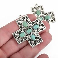 2 Cross Charms, Silver Ox with Turquoise Blue, 43mm, chs3845