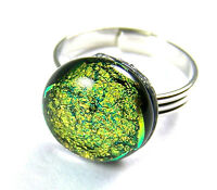 """Cocktail RING Adjustable DICHROIC Fused Glass 1/2"""" 12mm Bright Gold Brass Dot"""
