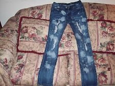 DOLCE & B Women's Factory Distressed Blue Jeans Size  5 Style #08-9810-1