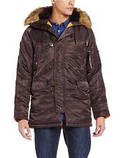ALPHA INDUSTRIES N-3B Slim Fit Deep Brown Parka Jacket MJN31210C1 Coat Men XL