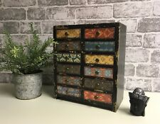 Industrial Vintage Moroccan Style Small Cabinet Storage 12 Drawers Multi Colour