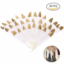 36PCS Natural White Feathers with Tip Soaked in Gold for Decoration Crafts