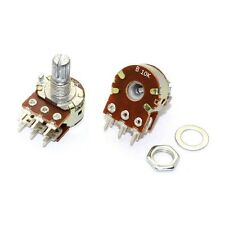 3PCS B10K Dual Stereo Potentiometer Pots Shaft S 15mm 6Pin