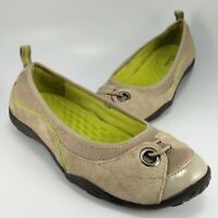 Clarks Ballet Flats Womens Size 6.5M Taupe-Tan Leather & Mesh Slip-Ons Moccasins