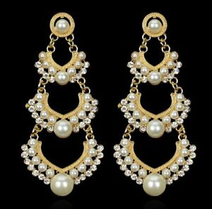 Boho style 8cm long gold and white pearl chandelier earrings