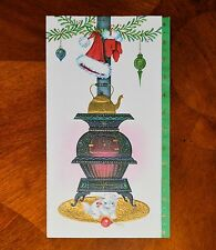 Vintage UNUSED Christmas Card EMBOSSED CAT KITTEN POT BELLY STOVE Mid-Century