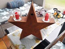Metall Ständer Stern 3D H47/B49 Edelrost Windlicht Tischleuchter Kerzenständer
