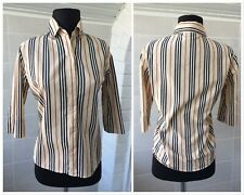 Women's Burberry London Beige Striped 3/4 Sleeve Blouse Shirt Sz - Medium