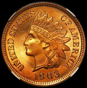 1903 U.S. Indian Head One Cent Penny Coin - NGC MS 67 RD - Highland Collection