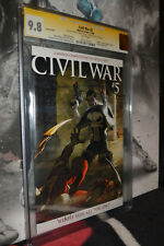 Civil War #5 CGC 9.8 SS Michael Turner Variant Cover Rare WHITE pages