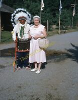 Frontier Town New York 1950s 35mm Slide Kodachrome Vtg American Indian Chief