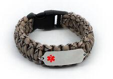 Paracord Medical ID Survival Bracelet with Color emblem Free medical wallet Card