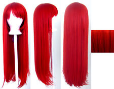 32'' Long Straight Long Bangs Scarlet Red Cosplay Wig NEW