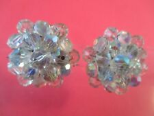 1950's Vintage Silver-tone  Iridescent Crystal Cluster Clip-On Earrings-166