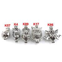 21628 5X/lot Wholesale Silver Locket Animal Ladybug Frog Owl Pearl Cage Pendant