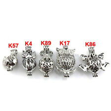 21628 5X/lot Wholesale Silver Locket Animal Ladybug Frog Owl Pearl Cage Pendant