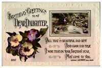 Antique RPPC real photograph postcard card Birthday Greetings Dear Daughter