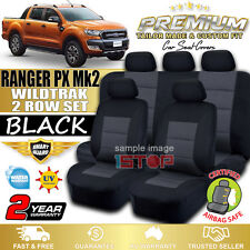 FORD RANGER PX Mk2 WILDTRAK DUAL CAB BLACK SEAT COVERS 06/2015-2018 WILDTRACK