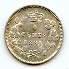 Genuine Silver 1881-H Canada 5 Cents | AU Details