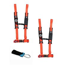 "Pro Armor 4 Point Harness 2"" Pad Seat Belt PAIR BYPASS ORANGE Commander Maverick"