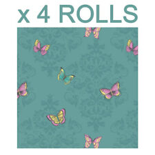 Teal Butterfly Glitter Wallpaper Damask Leaves Sparkle Butterflies Bulk 4 Rolls