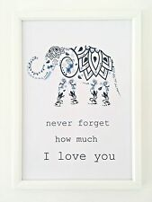 A4 Print Poster Picture Baby Nursery Blue I Love You Typography Quote